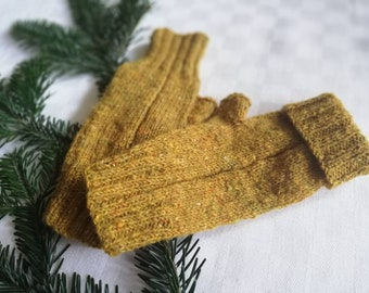 curry yellow knit wool fingerless gloves, mitts, mustard, pear yellow, unisex warm mitts, gift for her