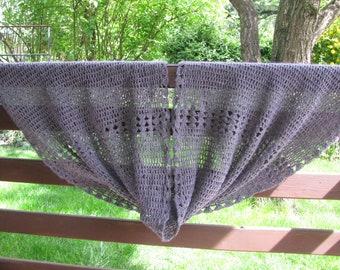 crocheted evening stole, dark gray light lace shawl with merino wool OOAK