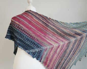 multicolor wool arrow shawl, luxurious gift for woman