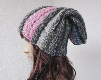 slouchy knitted blue, pink and gray hat, size L oversized stretchy versatile wool beanie