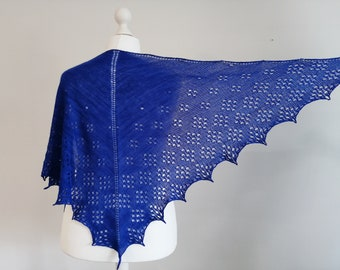 cobalt blue merino wool arrow shawl, luxurious gift for woman