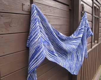 multicolor cobalt blue and white wool arrow large statement shawl, gift for woman