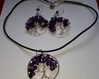 Handmade wire wrapped tree  of life pendant and earring set