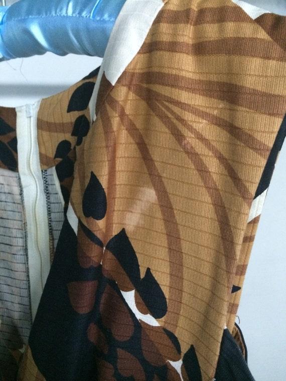 Malia maxi dress 1960's brown print size L-XL - image 5