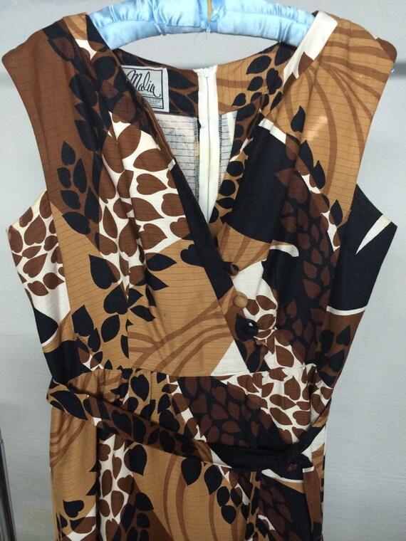 Malia maxi dress 1960's brown print size L-XL - image 2