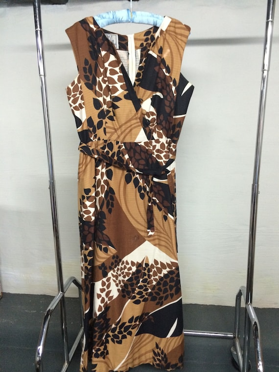 Malia maxi dress 1960's brown print size L-XL