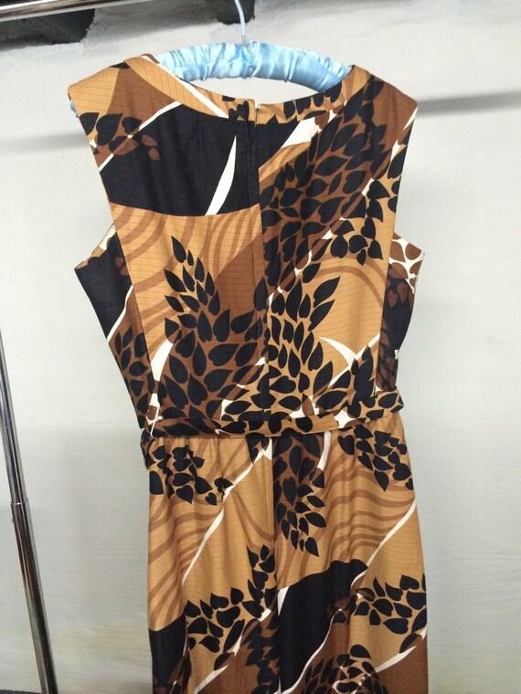 Malia maxi dress 1960's brown print size L-XL - image 3