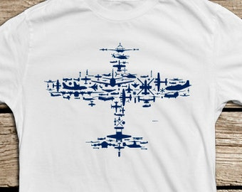 Fighter Plane Collage of Airplanes, Helicopters and Parts. Flight V1.0 Collage T Shirt