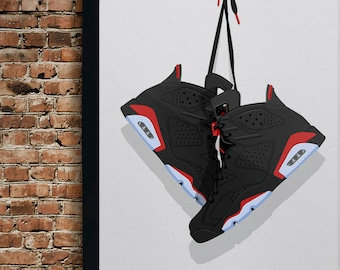 huge selection of 137af e158b Air Jordan 6 (Six) Illustration, Vintage Hanging Kicks - Sneaker Wall Art -  Various Size and Color Options.  25.00. Eligible orders ship free