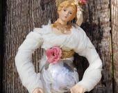 Tassel,Young Lady,Hand Painted Glass Tassel Skirt, Shabby Chic, Victorian,Porcelain Face,OOAK,Ornament, Pam Miller RustedSilkReloaded