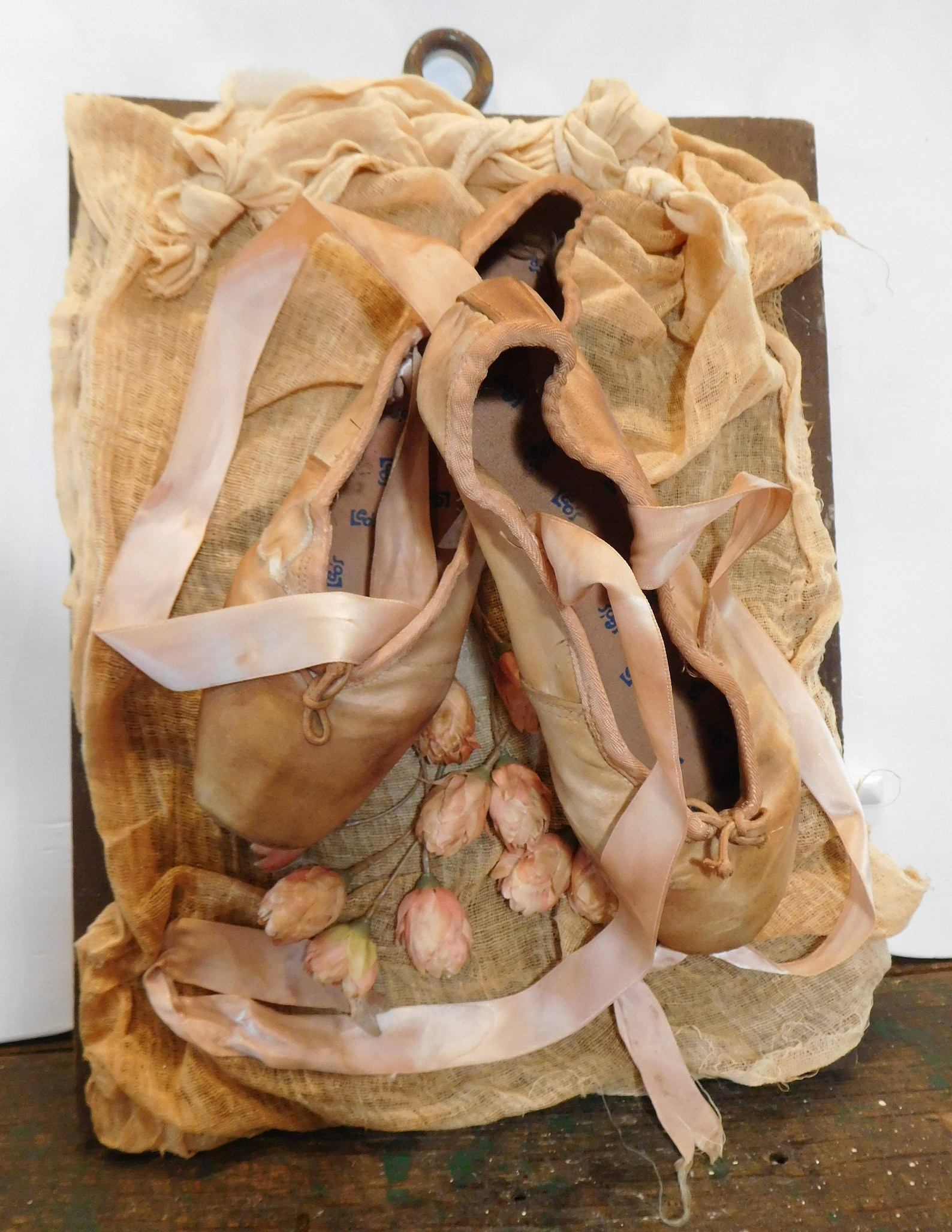ballet pointe old peach dyed shoes,vintage w/ roses and satin ribbon,brocante decor,ooak,paris style decor,rustedsilkreloaded