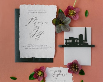 Handmade Paper Wedding Invitations with Torn Deckled Edges