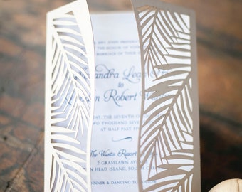 Tropical Palm Leaf Laser Cut Wedding Invitation perfect for a beach or destination wedding