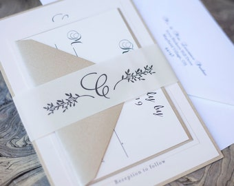 Neutral Color Transparent Wedding Invitation with leaf vine