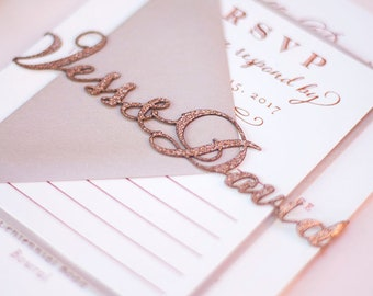 Laser Cut Belly Band with Custom Names for Wedding Invitations