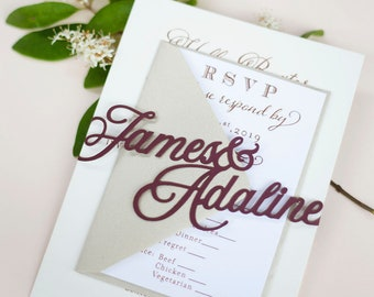 Laser Cut Wedding Invitation Wrap Band with Custom Names in Modern Calligraphy Font