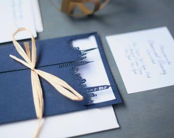 New York City Wedding Invitation, Laser Cut City Wedding Invitation, Navy Modern Wedding Invitation