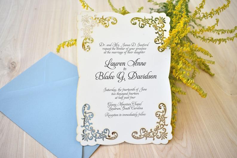 Lace Laser Cut Vintage Inspired Wedding Invitation: Elegant image 0