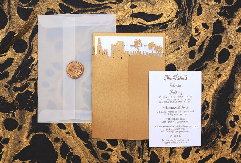 Hollywood Skyline Wedding Invitation Laser Cut City Wedding image 0