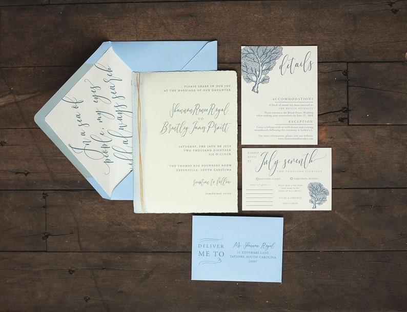 Watercolor Beach Light Blue Wedding Invitation with Coral Sea image 0