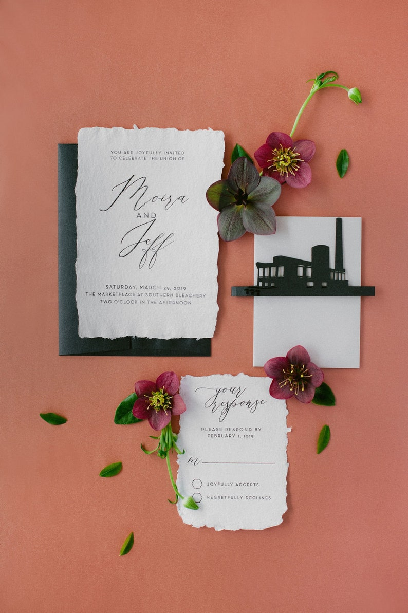 Handmade Paper Wedding Invitations with Torn Deckled Edges image 0