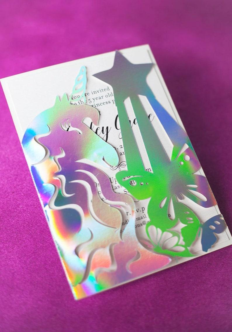 Rainbow Unicorn Birthday Invitation with Holograph Laser Cut image 0