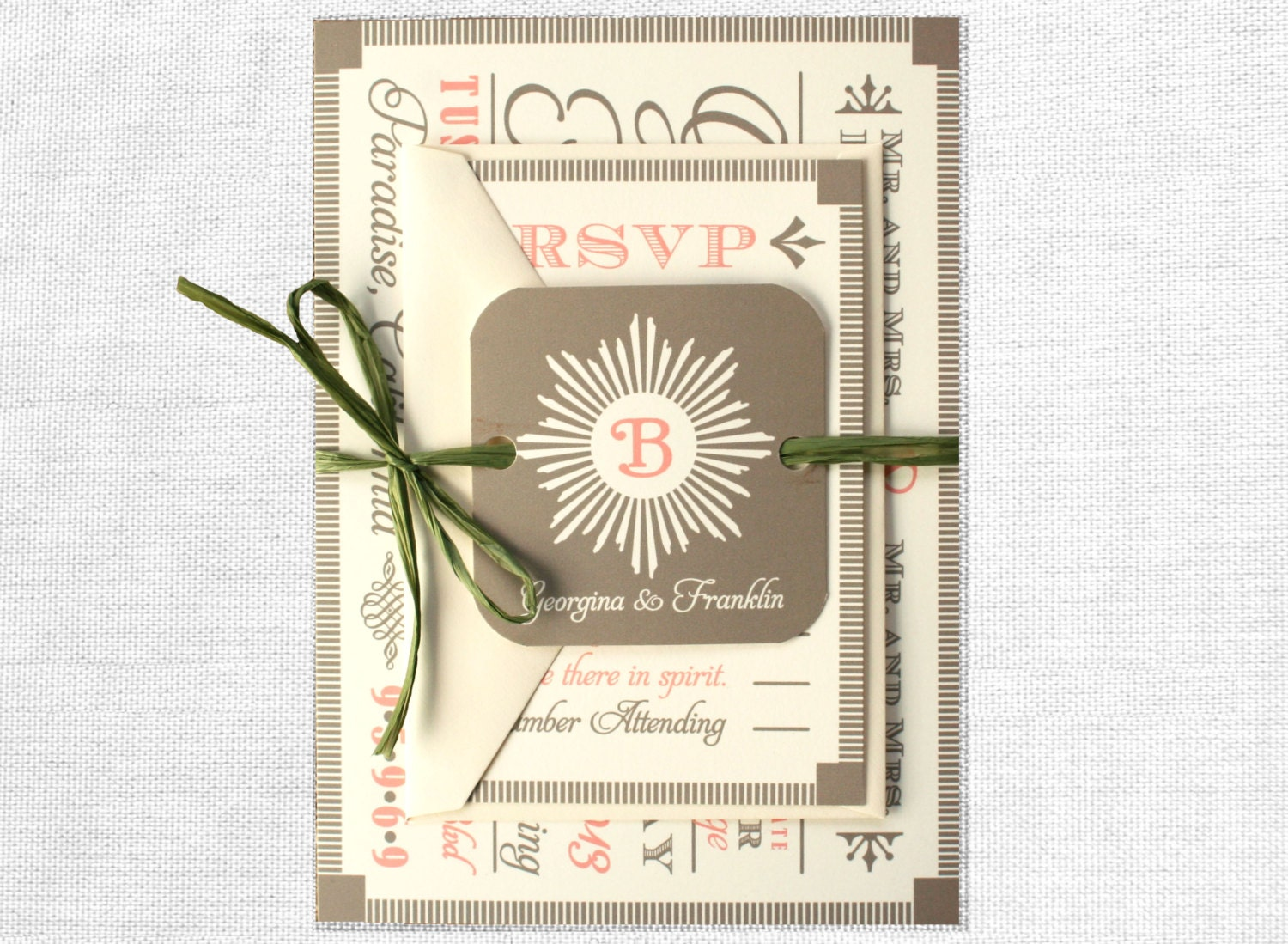 Fonts For Wedding Invitations: Modern Vintage Wood Block Fonts Wedding Invitation With