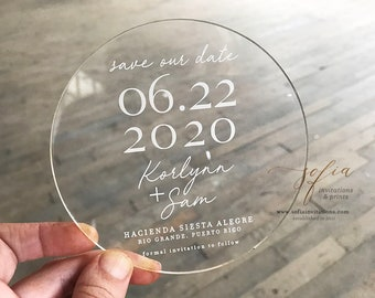 Minimal Clear Acrylic Save the Date with Vellum Envelopes
