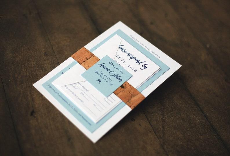 Vineyard Cork Wedding Invitation with various Blue Colors image 0