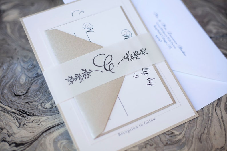 Vine Leaf Wedding Invitation with Vellum and Neutral Colors image 0