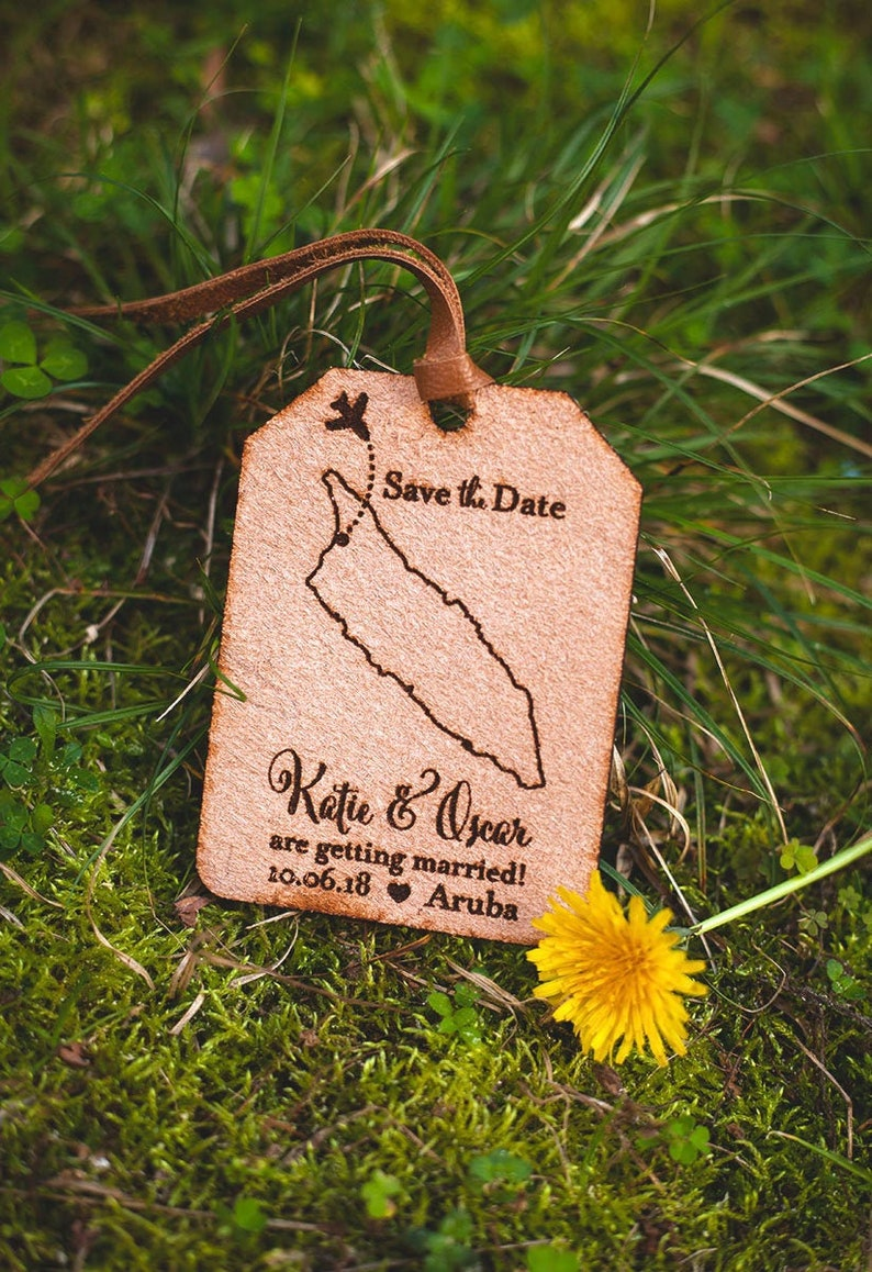 Engraved Leather Save the Date Tag image 0