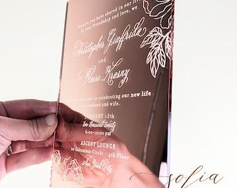 Rose Gold Mirror Acrylic Wedding Invitation, Invitation for a Luxury Event