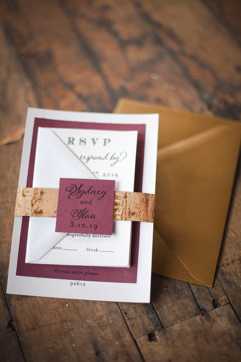 Burgundy Red Marsala Wedding Invitations with Cork Detail for image 0