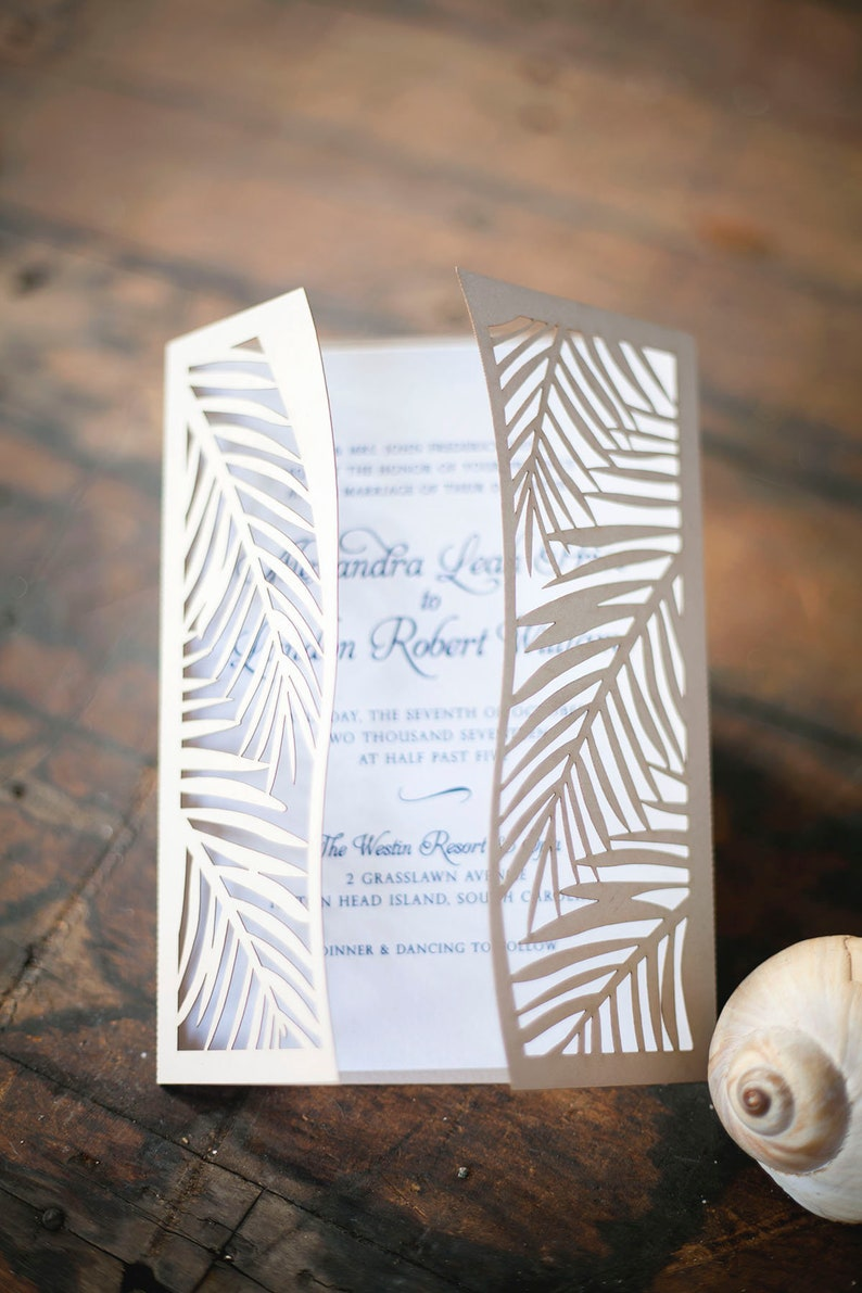 Tropical Palm Leaf Laser Cut Wedding Invitation perfect for a image 0