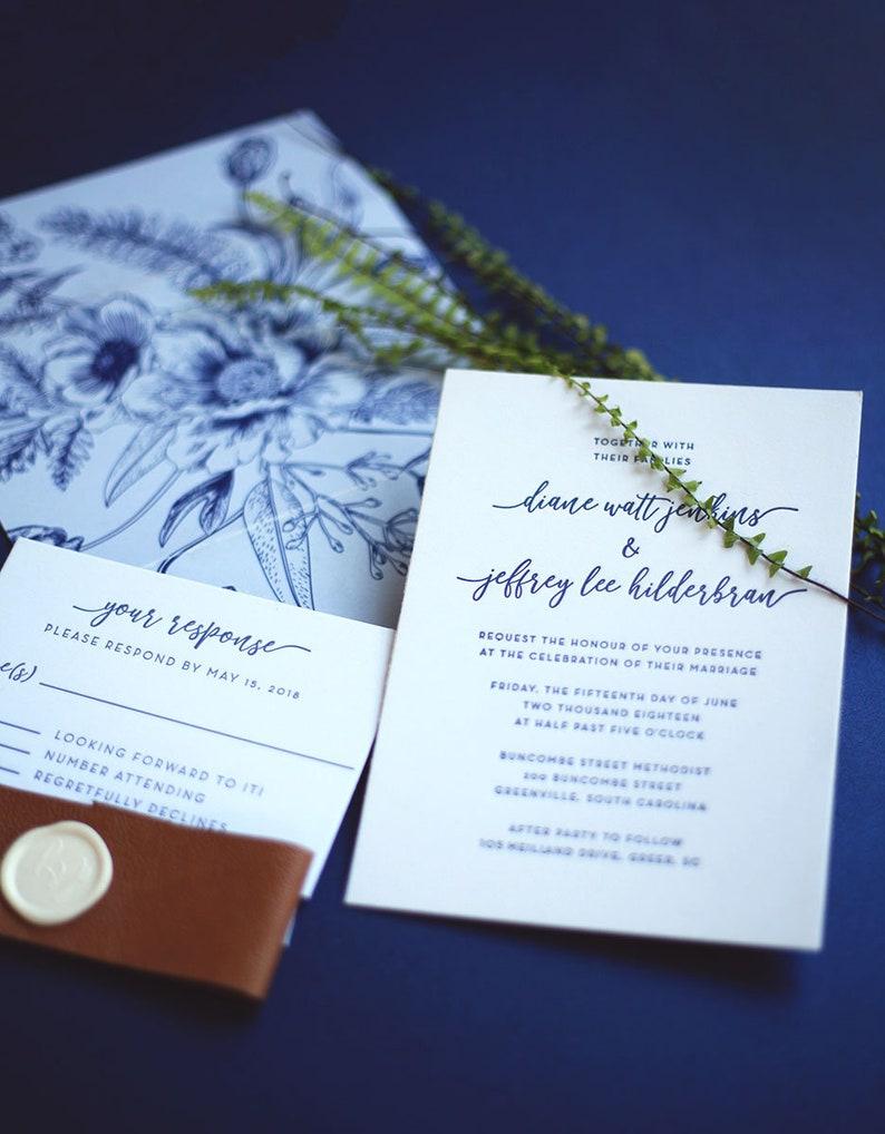 Floral Vellum Letterpress Wedding Invitation image 0
