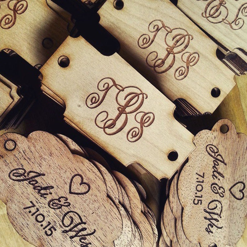 Custom Wood Tag:  Engraved Monogram in Custom Shapes for your image 0