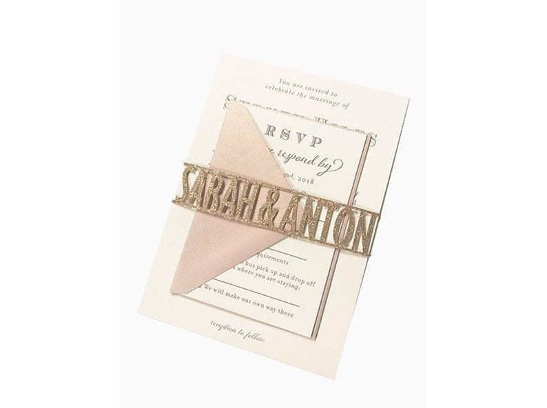 Laser Cut Name Wedding Invitation Belly Wrap Band In A Modern image 0