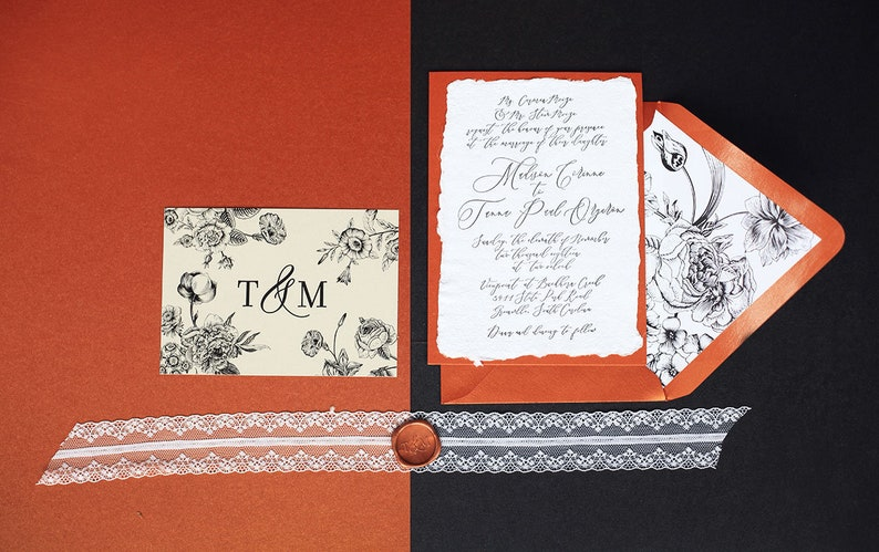 Romantic Luxury Letterpress Calligraphy and Handmade Paper image 0