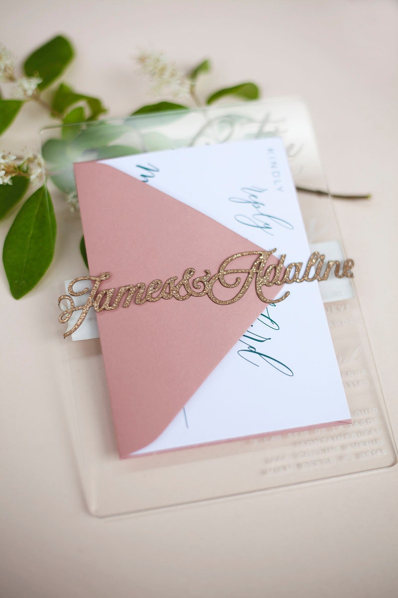 Luxury Wedding Invitation Laser Cut Name Bands image 0