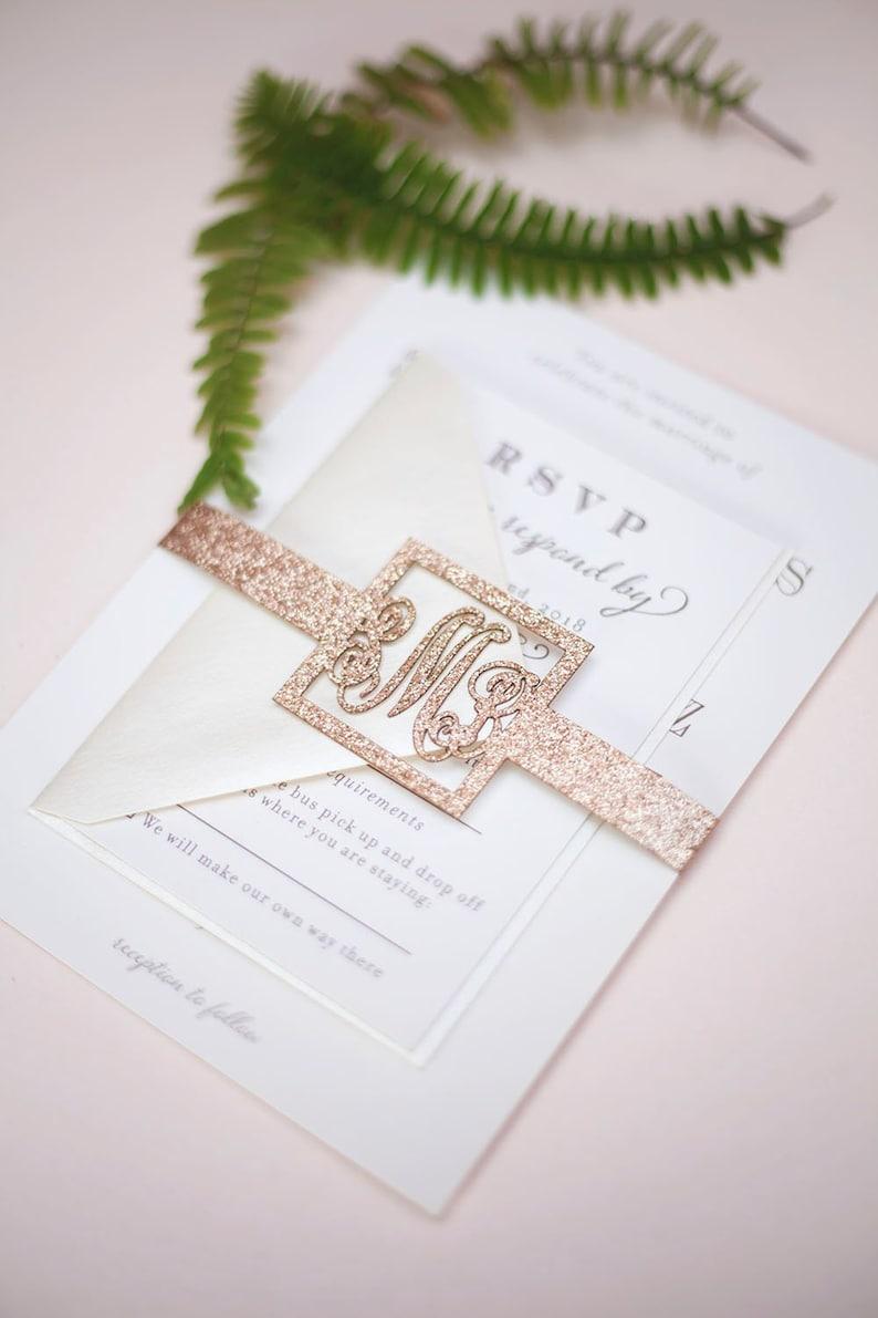Monogram Wedding Invitation Belly Band Wrap image 0