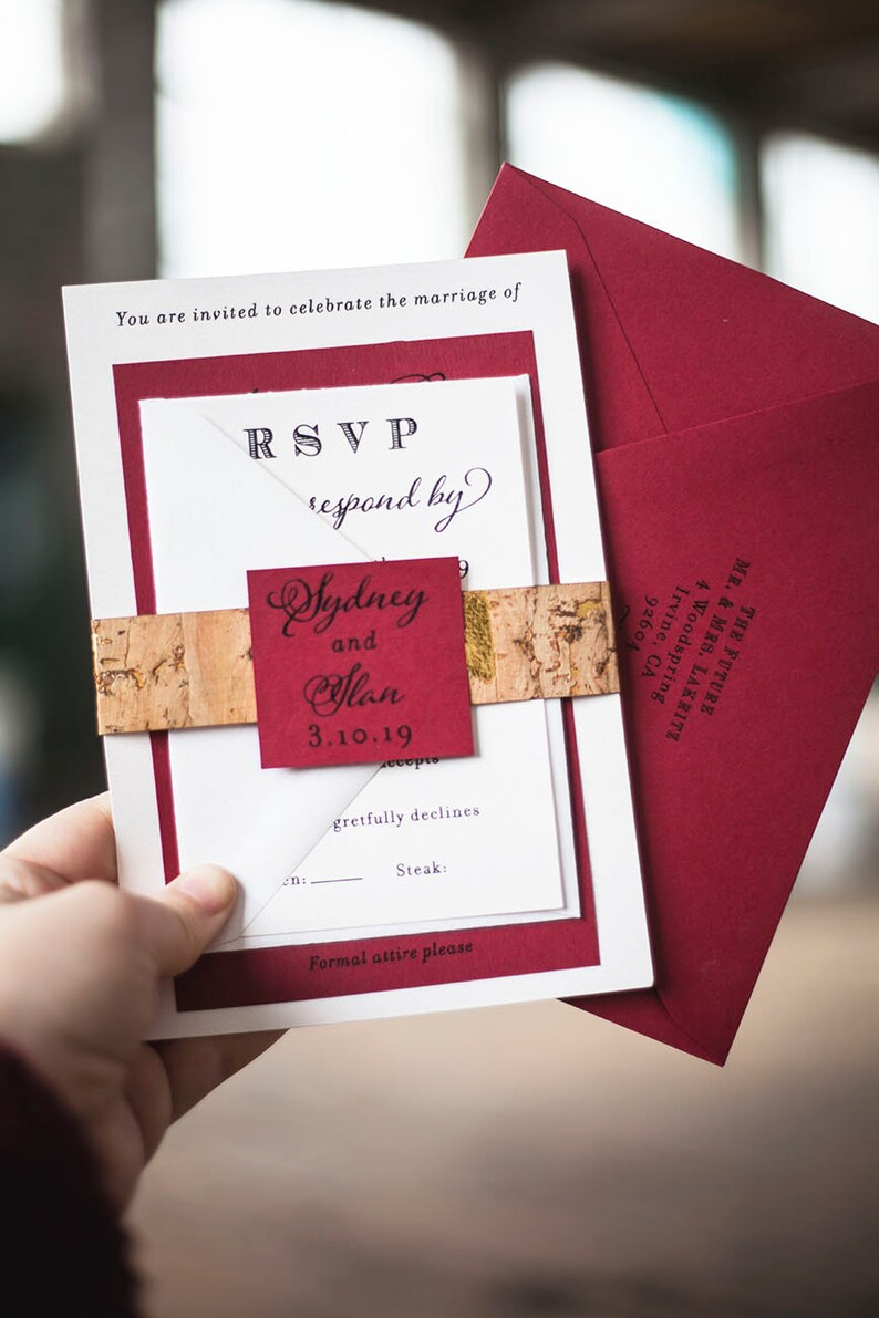 Vineyard Cork Wedding Invitation with Merlot Red Matte Colors image 0