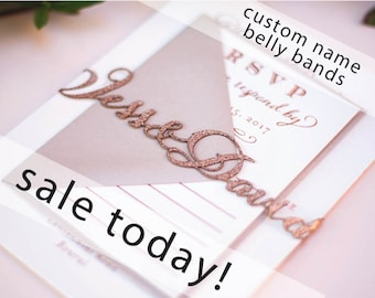 Laser Cut Wedding Invitation Belly Bands with Custom Names