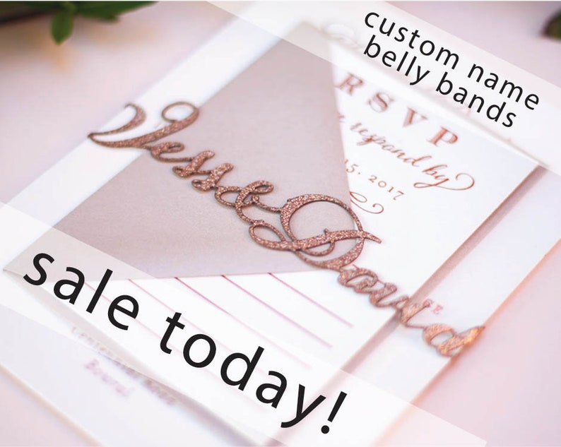 Laser Cut Wedding Invitation Belly Bands with Custom Names image 0