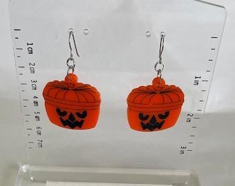 Handmade Acrylic Halloween Bucket Earrings