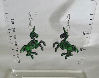 Handmade Acrylic Halloween Unicorn Skeleton Earrings