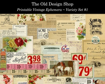 Vintage Printable Ephemera Variety Pack Digital Download Collage Sheets Magazine Ads Postcards Tickets Invoices Trade Cards Milk Caps