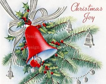 Vintage Christmas Joy Red Bell on Branch Silver Decorations Printable Digital Download JPG Image