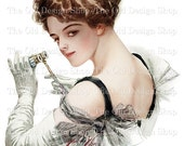 Harrison Fisher Printable Art Edwardian Lady with Opera Glasses Digital Download JPG Image