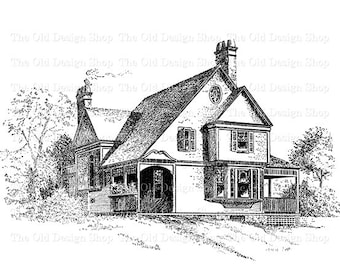 Victorian Cottage Clip Art Vintage House Illustration Digital Stamp Transfer Image