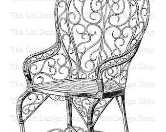 chair image etsy 1950s Art Deco garden chair vintage clip art illustration digital st transfer image
